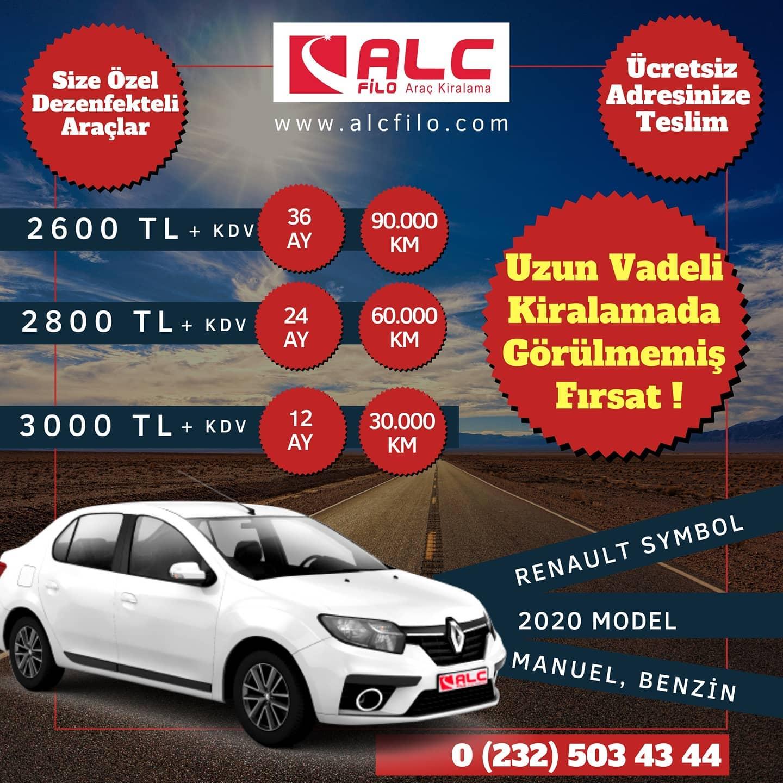 İzmir Aylık Araç Kiralama Kampanyası Renault Symbol