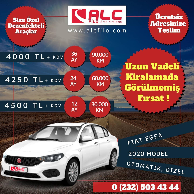 İzmir Aylık Araç Kiralama Kampanyası Fiat Egea 2020 Model